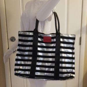 Black & silver striped Victoria secret tote 🖤